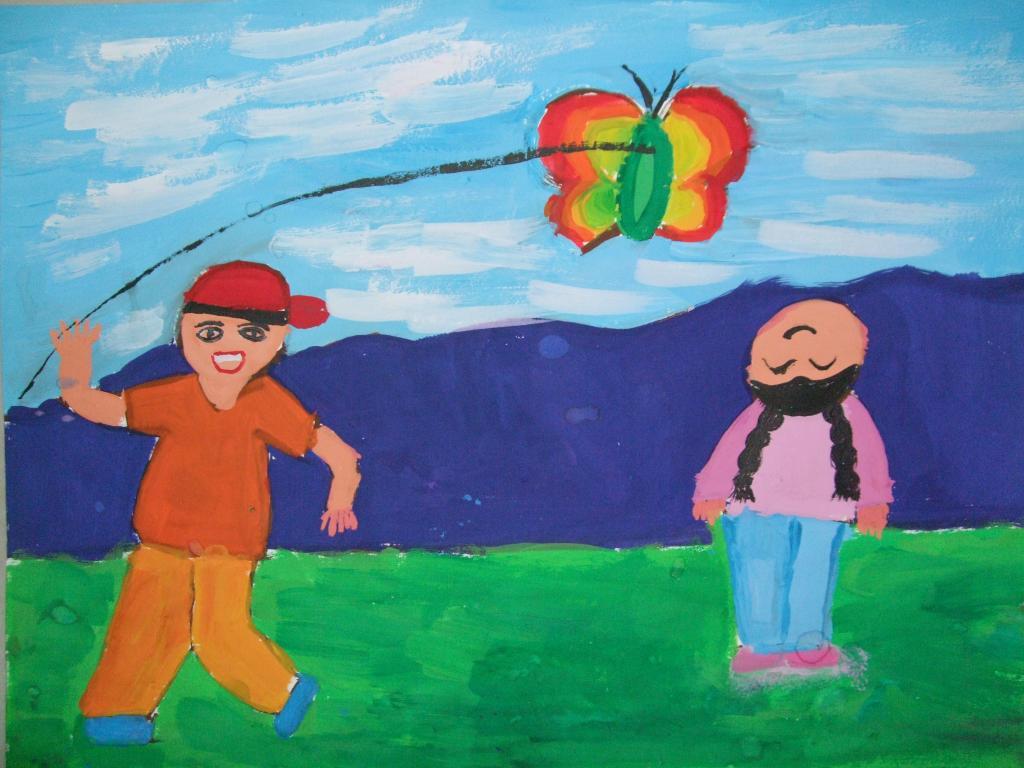 幼儿画春天风筝